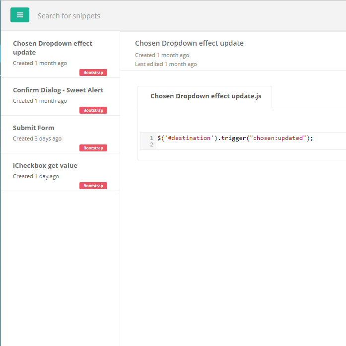 Code Snippet Manager, filtering by title and contents.